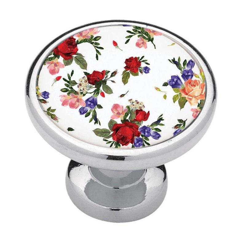 flora Blue Bathroom Decor Cabinet Knobs Renters Decor Red Roses Drawer Pulls Home Decor Kitchen Decor Bedroom Decor Business Decor
