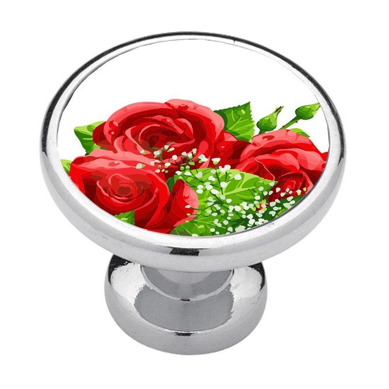 Home Decor Renters Decor Flowers Cabinet Knobs Kitchen Decor Drawer Pulls Red Rose Bouquet Bathroom Decor Business Dec Bedroom Decor