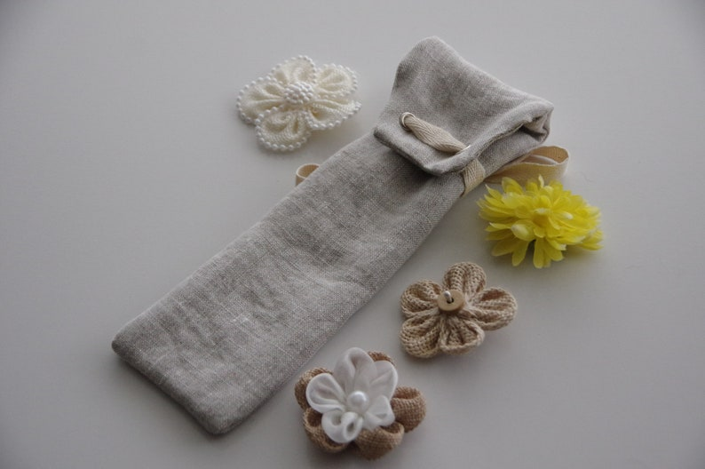 Natural Linen Reusable Cutlery Pouch  Reusable Straw Pouch  image 0