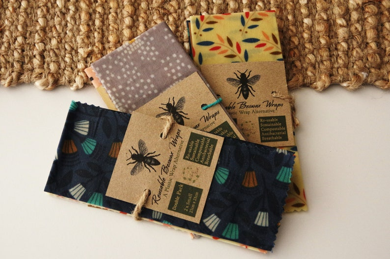 Reusable Beeswax Wraps  Small Double Pack  Assorted Prints  image 0