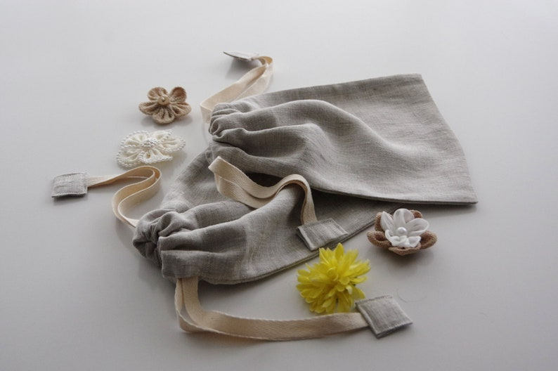 Natural Linen Produce Bags Set of Two  Size Small Double Bulk image 0
