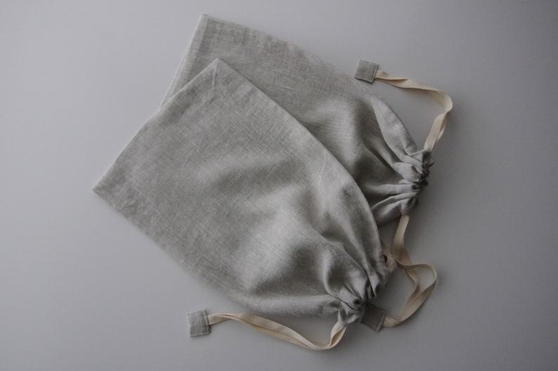 Natural Linen Bread Bag Set of Two  Standard Loaf Bread Bags image 0