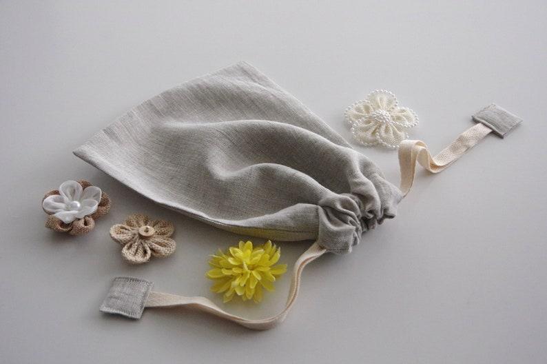 Small Produce Bag  Natural Linen Reusable Bulk Food Bag  image 0