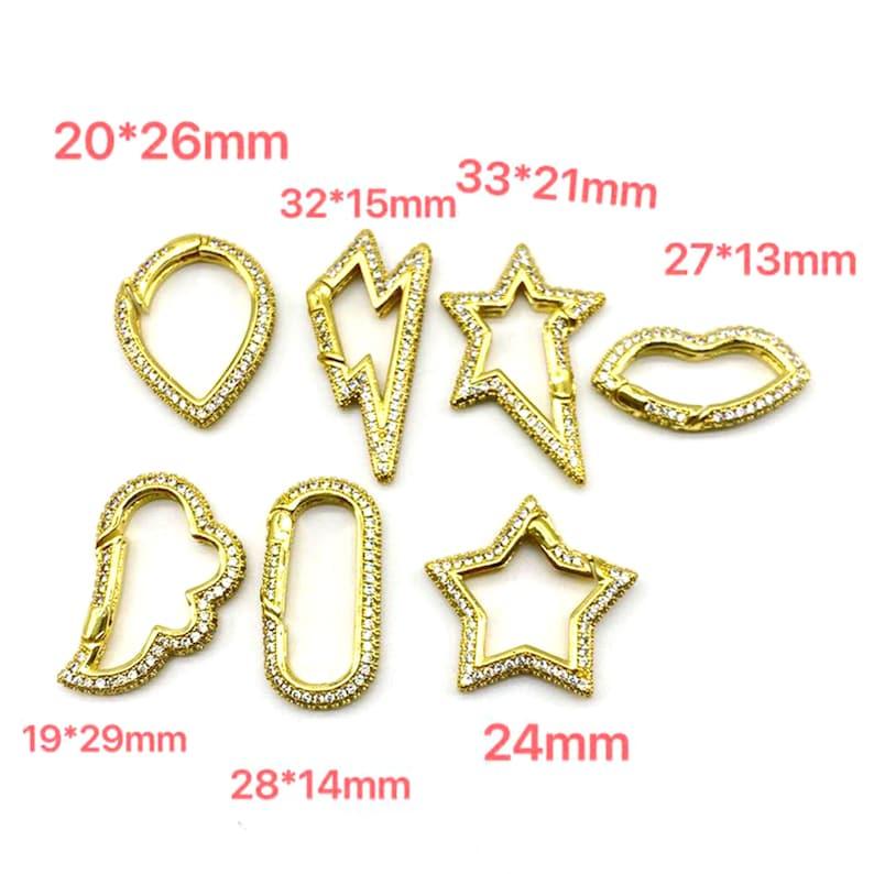 5pcslot Multi Design Star Cubic Clasp For Jewelry Making \u00a0