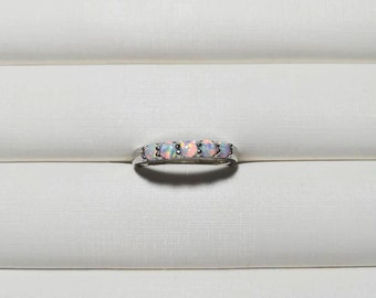7x9mm Oval Cut African Opal Engagement Ring,14k Rose Gold band,Anniversary,Solitaire ring,Plain Band,Ball Prongs,Promise Ring,Gift for her