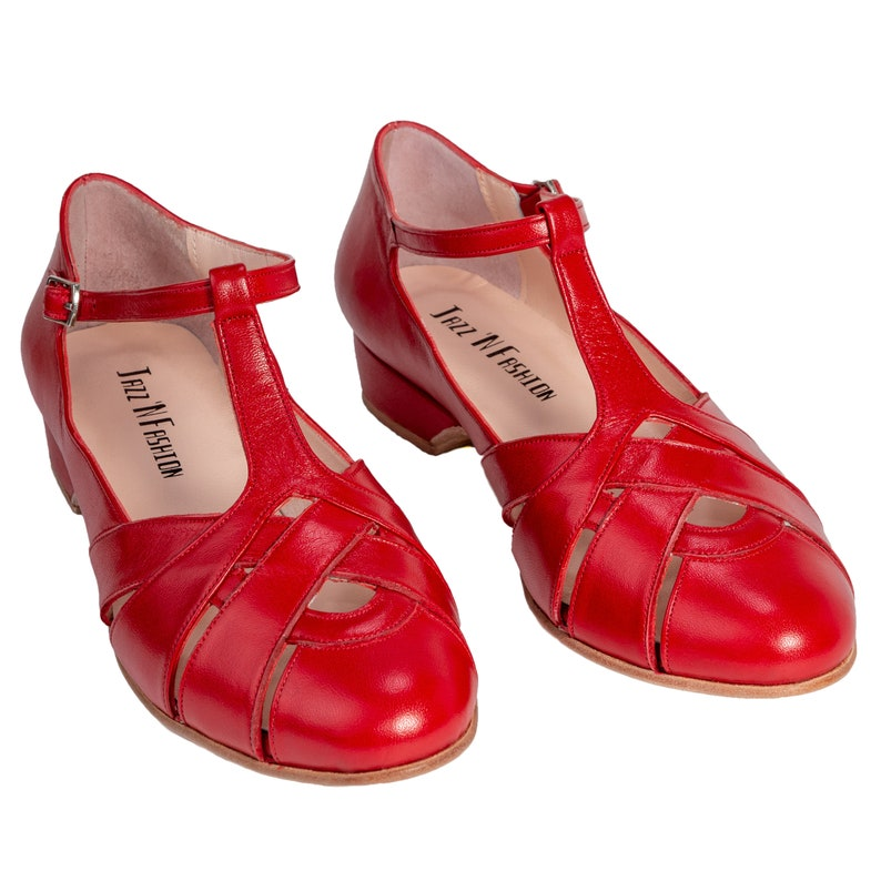 1930s Shoes – Art Deco Shoes, Heels, Boots, Sandals Custom - Retro Swing Red Pearl Shoes $127.00 AT vintagedancer.com