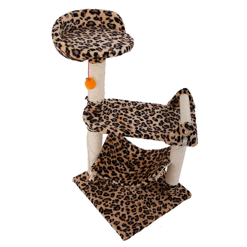 32 Cat Tower Activity Tree Kitten Condo Post Hammock Sisal Leopard Print