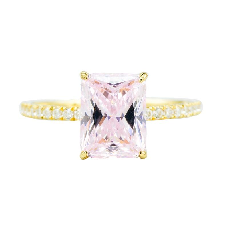 Alchemix 10K Yellow Gold 9x7 Created Pink Morganite Emerald Cut /& 52pcs Created Diamond Accent Ring Full US Size 4-11