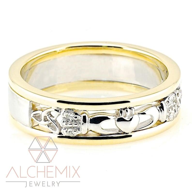 Alchemix 10K Yellow Gold /& Silver Two Tone Diamond Men Women Heavy Celtic Claddagh Wedding Cocktail Fashion Dress Ring Full US Size 4-11