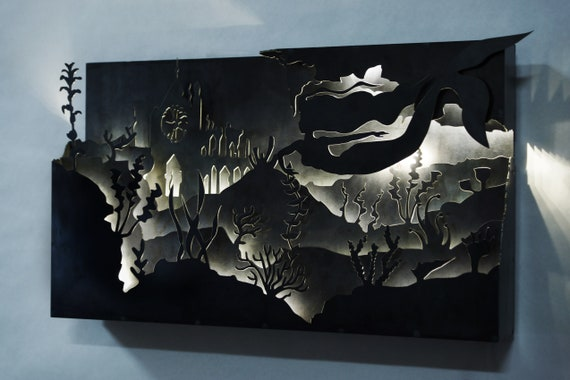 steel CNC plasma cut Mermaid silhouette