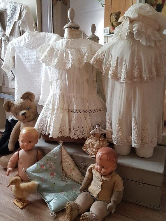 Cute little girl dress in white cotton. Antique d… - image 6