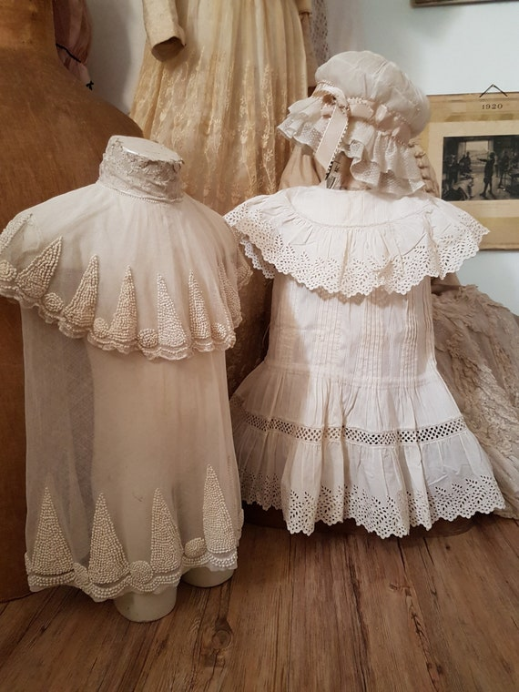 Cute little girl dress in white cotton. Antique d… - image 4