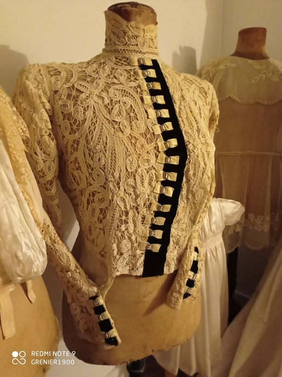 Splendid 1910's antique bodice in silk, cotton vei