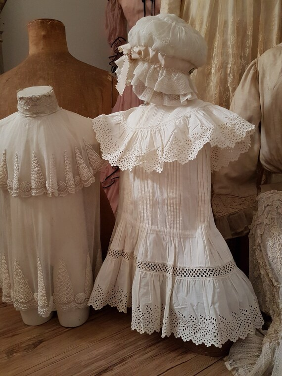 Cute little girl dress in white cotton. Antique d… - image 3