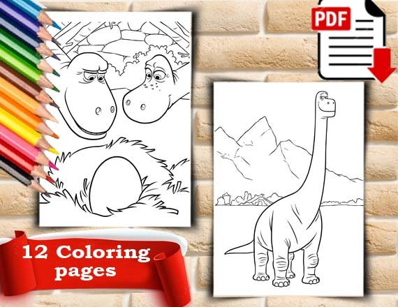 The Good Dinosaur Coloring Pages | Disneyclips.com | 440x570