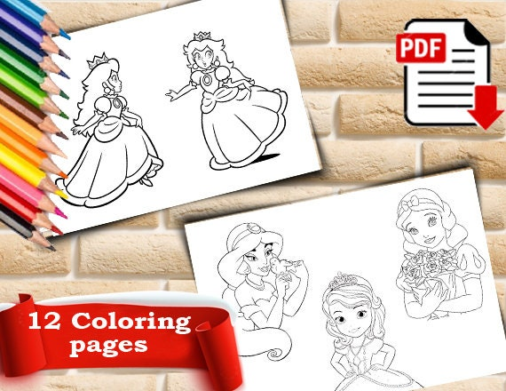 Princess Coloring Pages Princess Coloring Book Princess Etsy
