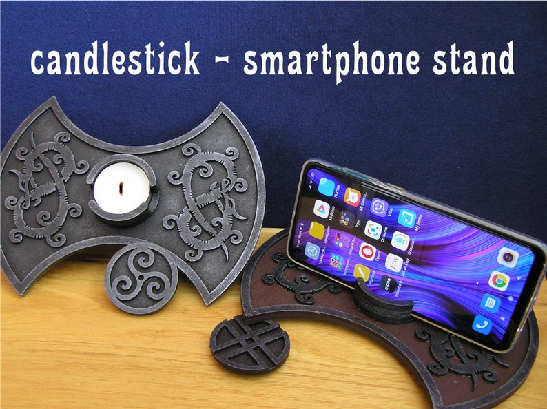 14. Viking Dragon Candle Holder and Phone stand