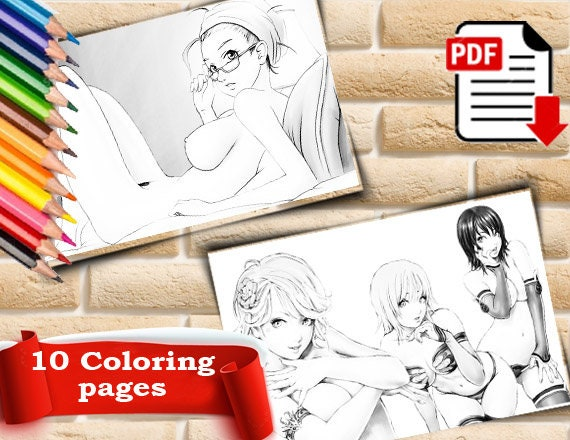 Erotic coloring book Erotic coloring pages Adult coloring pages printable  Art therapy kit Pdf coloring book for adults Color me mine