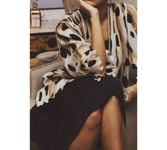 Vintage 1980's pleated leopard print dress for wom
