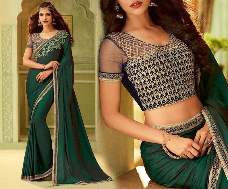 Sabyasachi Bollywood Green saree Deepika Padukone silk ...