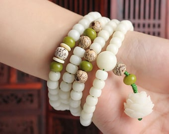 New Arrival-Natural Green Bodhi Root Apple Beads 13 mm,Bodhi Loose Beads,Bodhi Spacer Beads,108 Beads,Buddhism Beads,Mala Beads,Prayer Beads