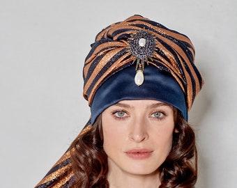 981fec28e042 Fashionable Luxury Turban Hat Handmade Millinery Headwrap bicolor sparkling  Gucci silk