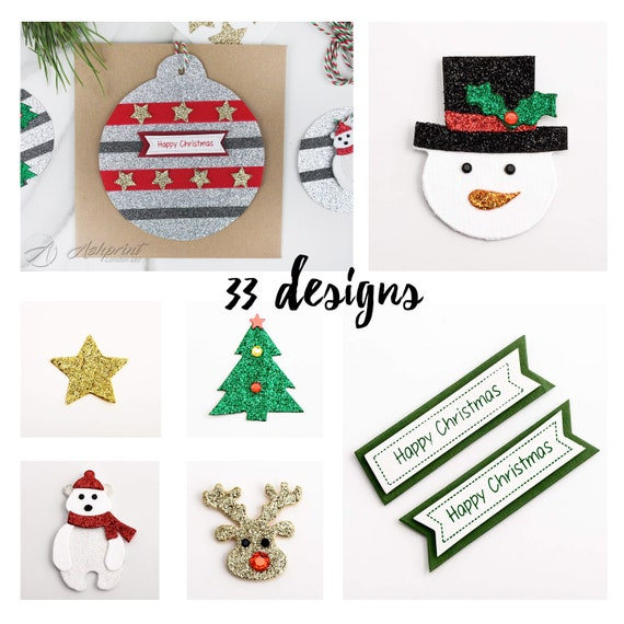 Glitter Christmas Puddings Stickers Craft Embellishments Card Toppers Pack of 8