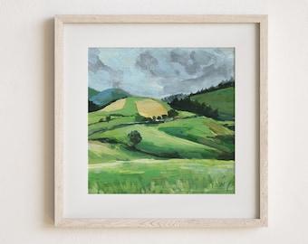 green landscape,landscape painting print,landscape art,modern landscape print,square landscape,nature wall art,bright art,wall art landscape
