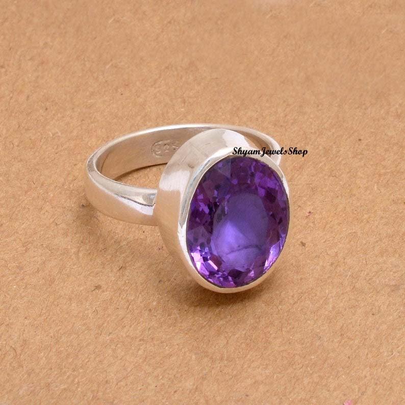 Genuine Purple Amethyst Ring Natural Gemstone Ring Amethyst Silver Ring African Amethyst Ring 925 Solid Sterling Silver Handmade Ring