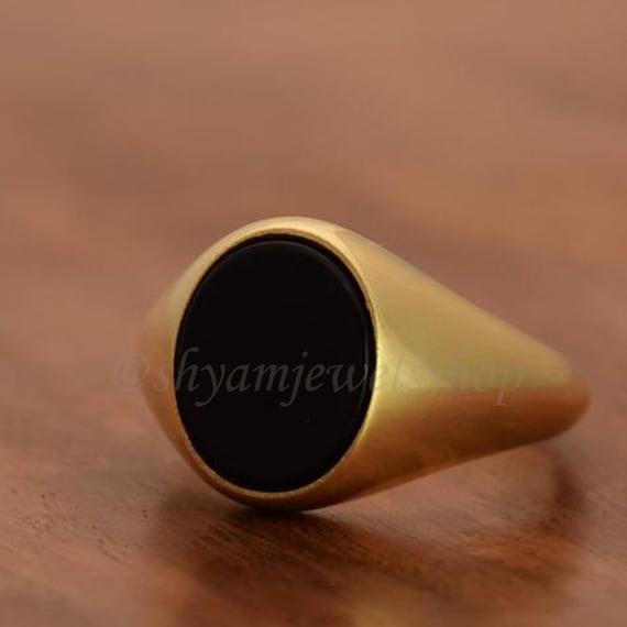 Black onyx ring gemstone ring cab stone ring 925 sterling silver ring mens ring signet ring gold plated ring husband gift wedding ring