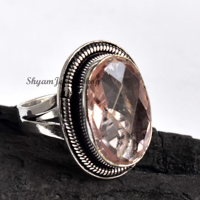 Statement Ring,Solid 925 Sterling Silver Ring,Beautiful Rings For Women/'s Morganite Gemstone Ring Morganite Faceted Cut Oval Gemstone Ring