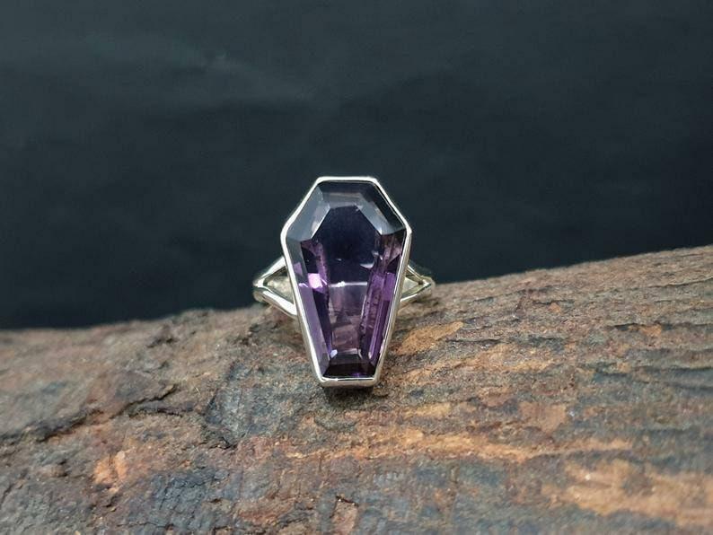 Amethyst gemstone ring handmade ring 925 sterling silver ring Amethyst coffin ring silver gemstone jewelry gift coffin shape ring