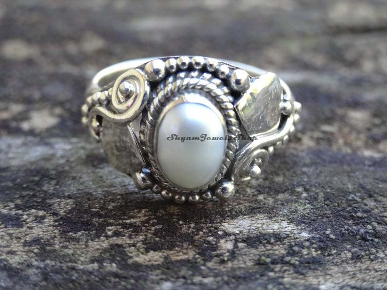 Leaves Ring Solid Celtic Shank Freshwater Pearl Wedding Engagement Ring Solid 925 Sterling Silver Bridal Oval Simulated Diamond Accent