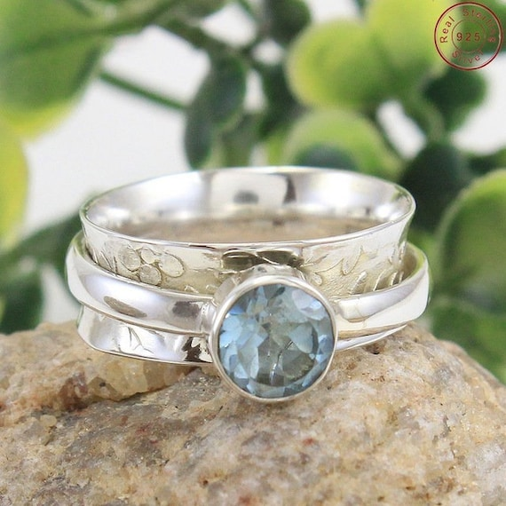 Silver Beautiful Blue Topaz Ring,Blue Topaz Ring,Solid 925 Sterling Silver Faceted Topaz Ring,Mother/'s Day Special Gift,Handmade Jewelry