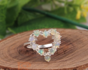 Sterling Silver Ring Promise Ring Gift For Her Eternity Heart Ring Eternity Opal Heart Ring Opal Engagement Ring Citrine Silver Ring