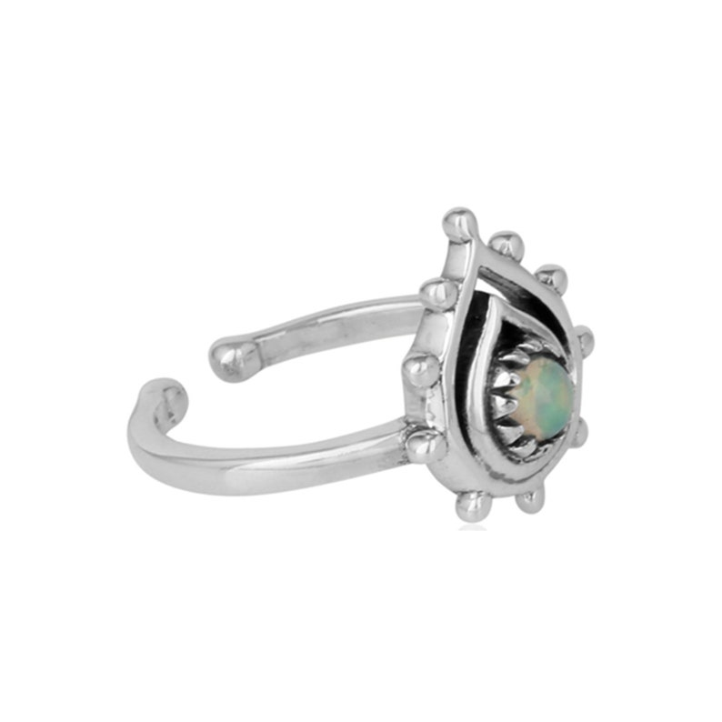 925 Sterling Silver Natural Opal Ring