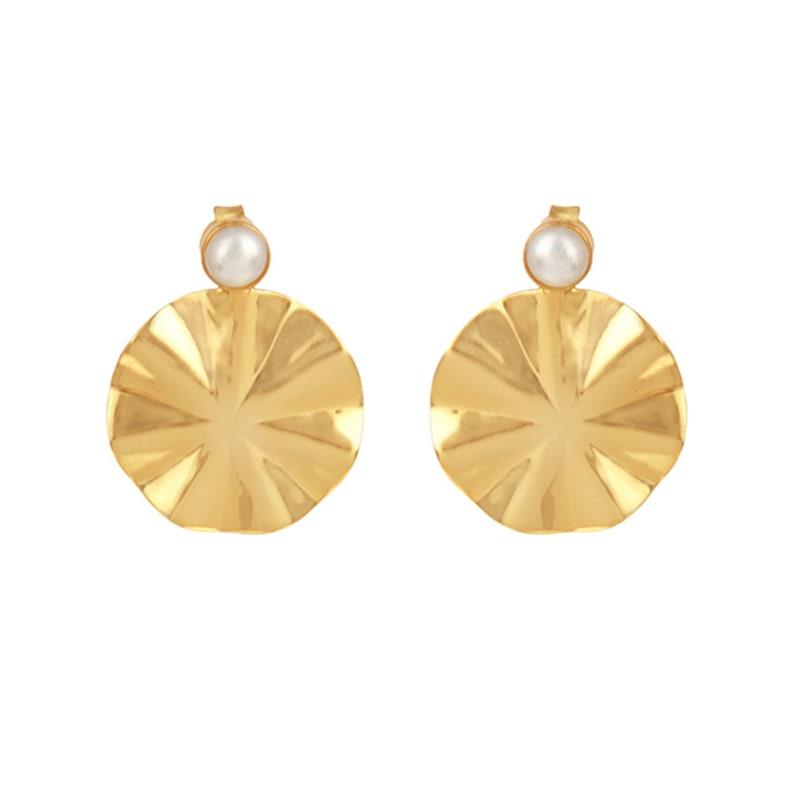 925 Sterling Silver Wavy Disc Pearl Earrings