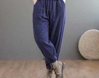 Autumn and winter retro warm grid pants,cotton casual pants women,elastic waist cotton pants,women/'s pants,Handmade loose plus size pants