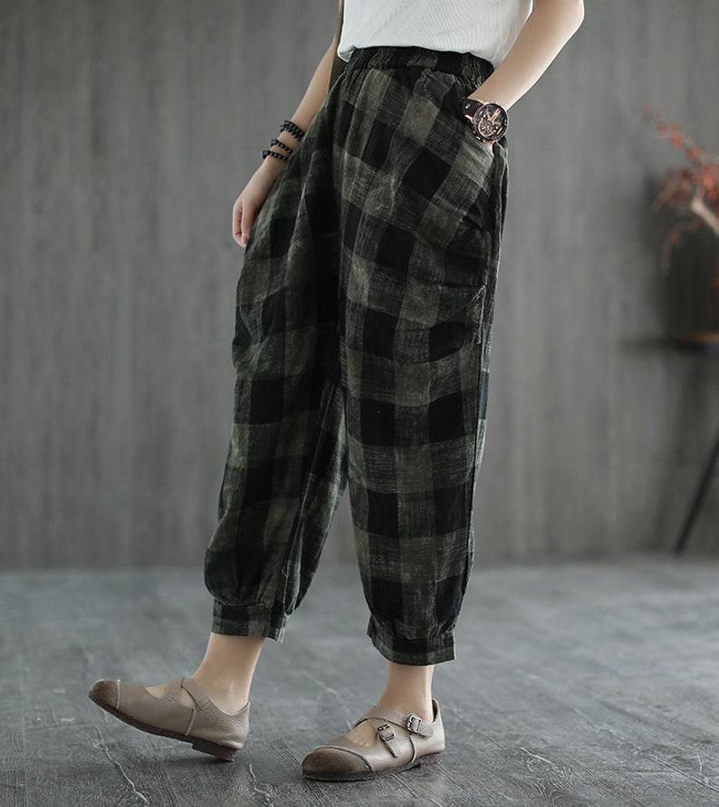 Pantalones a cuadros de lino salvaje sueltos mujeres   Etsy