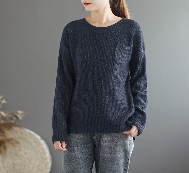 Autumn and winter solid color round neck sweater,knitted sweater women,loose sweaters,casual sweaters,women/'s sweaters,long-sleeved sweaters