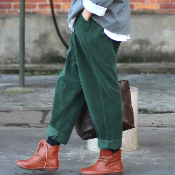 Herfst corduroy broek, herfst en winter dameskleding, grote grote losse broek, raapbroek, harem broek, breedte broek, handgemaakte