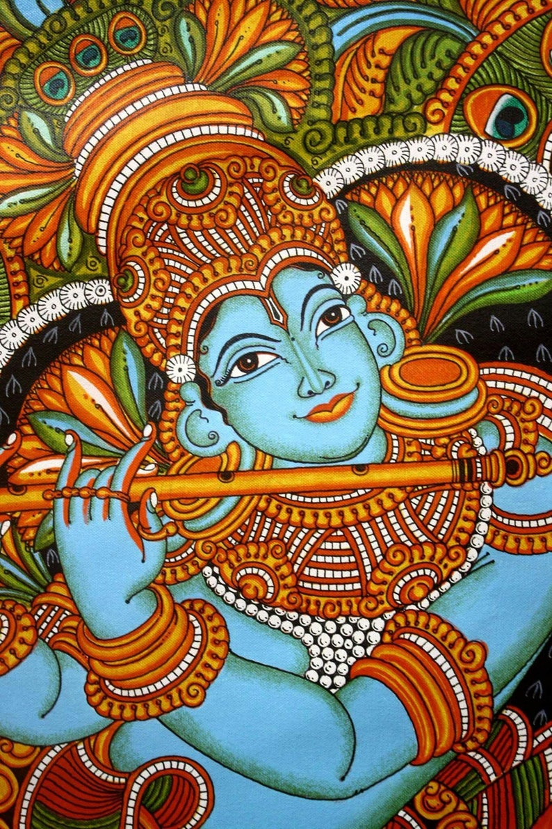 Krishna with flute#Canvas prints # Indian folk art series # Kerala mural  art # tribal art