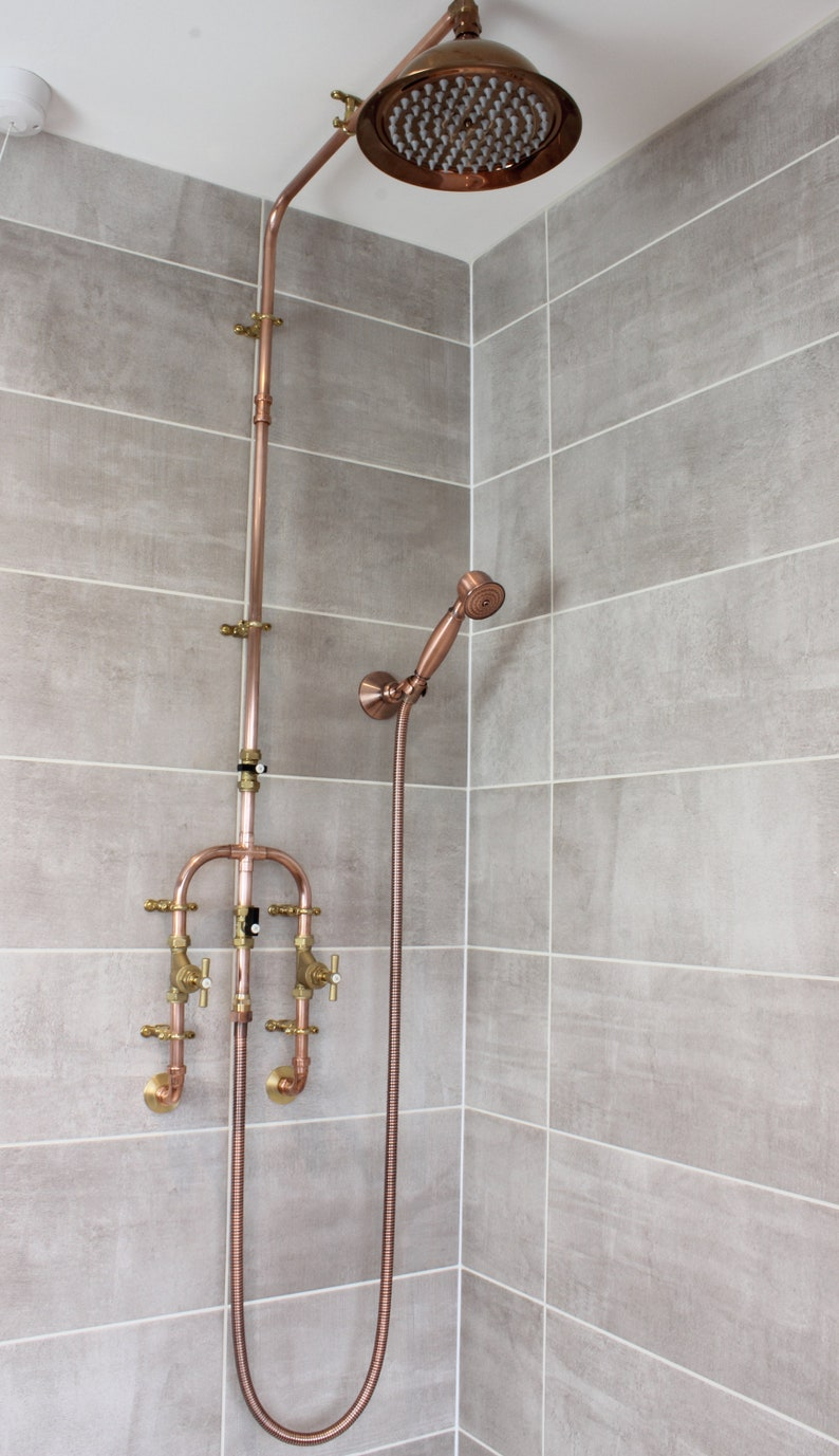 Copper Shower With Fixed Head And Flexible Handset