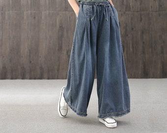 Dark blue large size jeans,women/'s loose casual pants,elastic waist harem,handmade,90s pants,Solid color casual pants,Tie dyed women/'s jeans