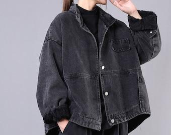 Women's large size loose denim jacket,single-breasted loose coat, women's clothing,Black casual jacket,90s retro lapel ladies trench coat