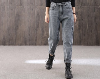 Winter retro high-rise casual jeans, long plus velvet warm jeans,90s handmade women's jeans,Christmas pants,woman with gifts,women's pants