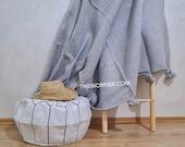 Premium Moroccan light grey Cotton Pom Pom with silver Stripe , Pom pom Throw blanket