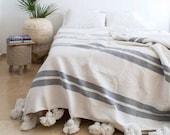 Premium Moroccan white and grey Cotton Pom Pom Striped Blanket, Pom pom Throw blanket
