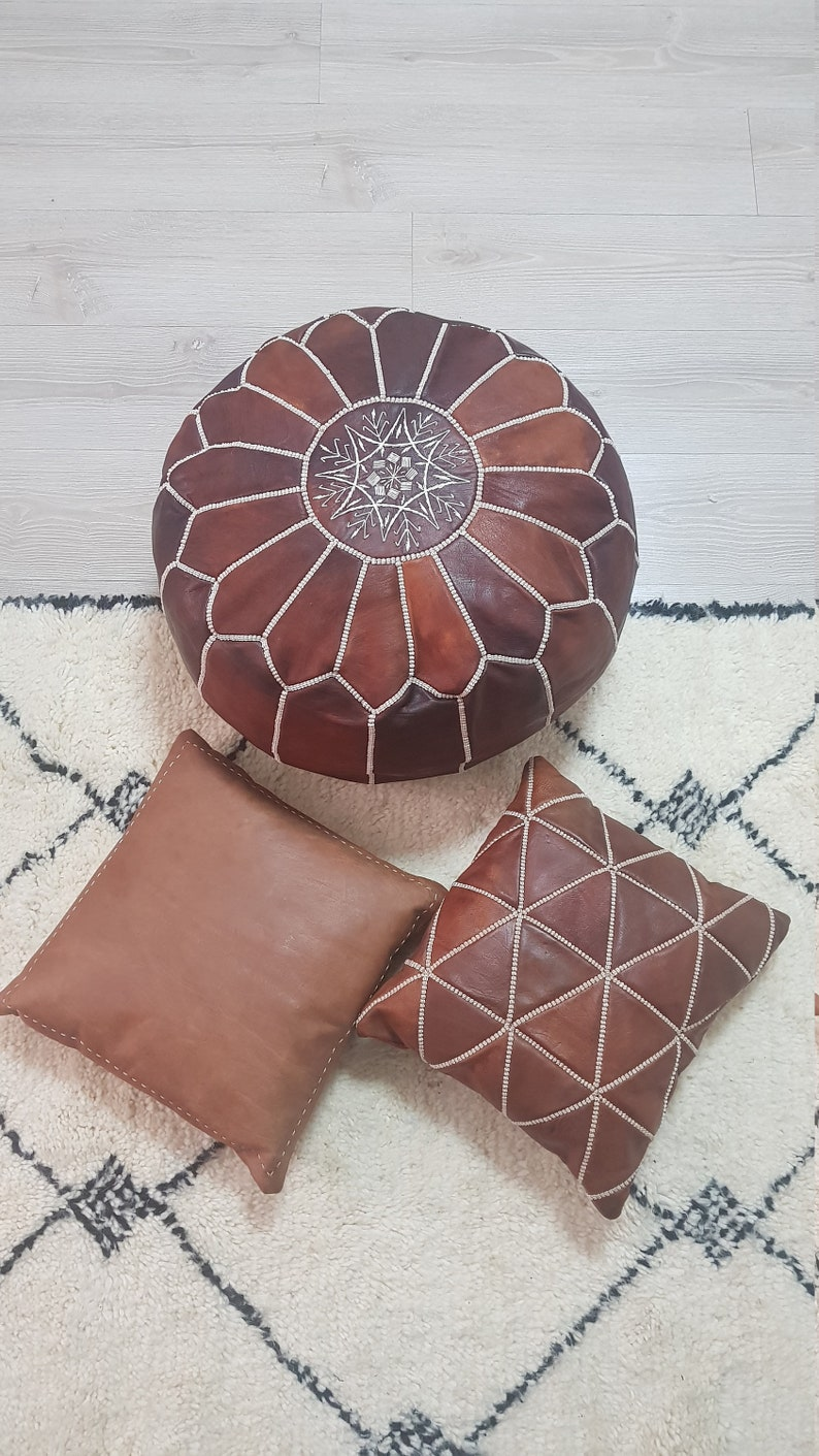 SET OF 2 Leather Pillow Cover with embroidery Fast Shipping Fedex Leather Cushion Accent Pillow Couch