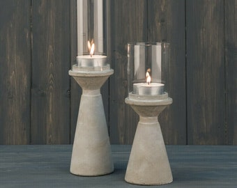 Rustic Scandi Style Grey Stone Cement Tea Light Candle Holder Lantern with Glass Hurricane Shade Nordic Christmas Wedding Table Decoration